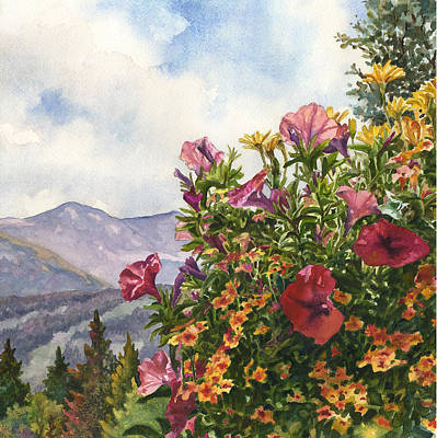 Petunia Painting - Ski Slopes In Summer by Anne Gifford