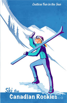 Winter Painting - Ski The Rockies by Sassan Filsoof