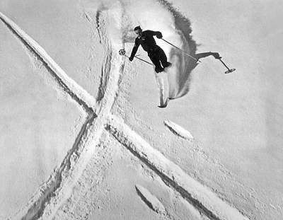 Ski Training At Banff Art Print by Underwood Archives