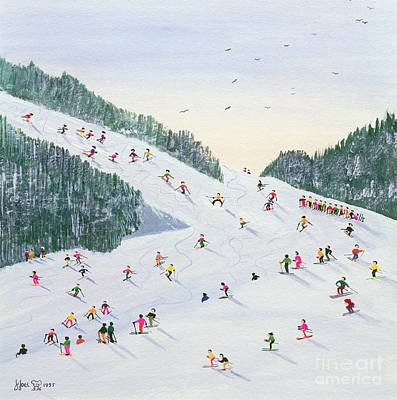 Downhill Painting - Ski Vening by Judy Joel