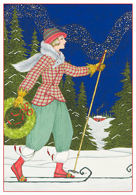 Winter Night Painting - Ski Vogue by Lynn Bywaters