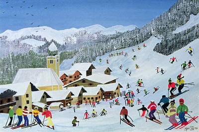 Snow Sports Painting - Ski Whizzz by Judy Joel