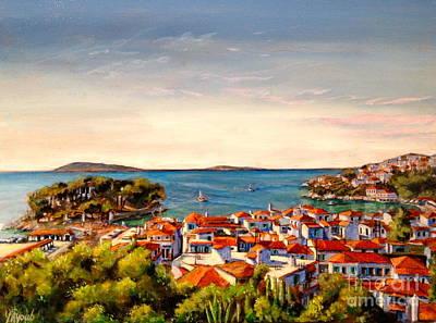 Skiathos Painting - Skiathos Panorama by Yvonne Ayoub