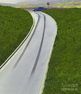 Skid Marks On Exit Ramp Print by Erich Schrempp