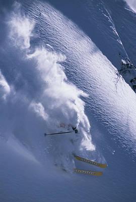Skier Descends Snow Mountainside Art Print