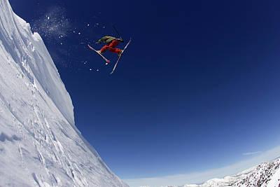 Skier Jumping Off A Cornice, Alta Utah Art Print