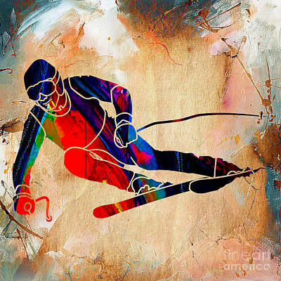Downhill Mixed Media - Skier Painting by Marvin Blaine