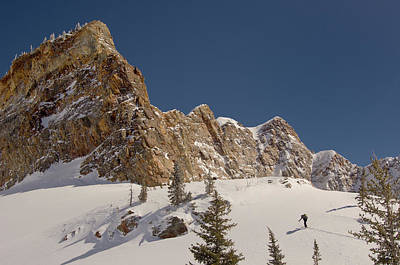 Big Cottonwood Canyon Photograph - Skiers Ascending In Mill B South Fork by Howie Garber