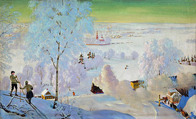 Snow-covered Landscape Painting - Skiers by Boris Mikhailovich Kustodiev