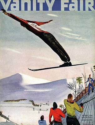 1936 Photograph - Ski Jump On Vanity Fair Cover by Deyneka