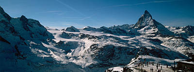 Switzerland Photograph - Skiers On Mountains In Winter by Panoramic Images