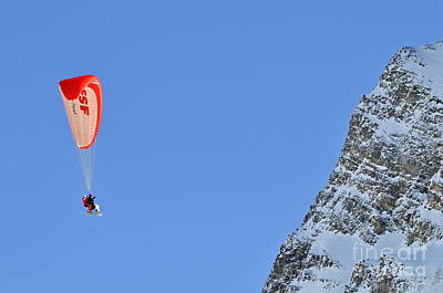 Photograph - Skiers Paragliding by Sami Sarkis