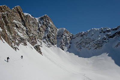 Big Cottonwood Canyon Photograph - Skiers Traversing In Mill B South Fork by Howie Garber