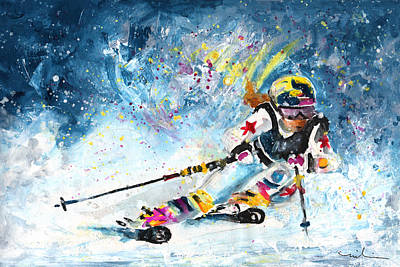 Sports Paintings - Skiing 03 by Miki De Goodaboom