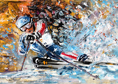 Sports Paintings - Skiing 04 by Miki De Goodaboom