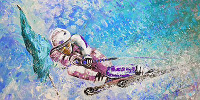Painting - Skiing 06 by Miki De Goodaboom
