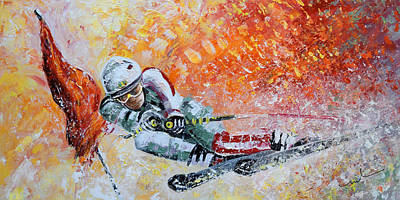 Sports Paintings - Skiing 07 by Miki De Goodaboom