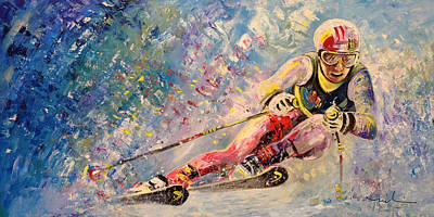 Sports Paintings - Skiing 08 by Miki De Goodaboom