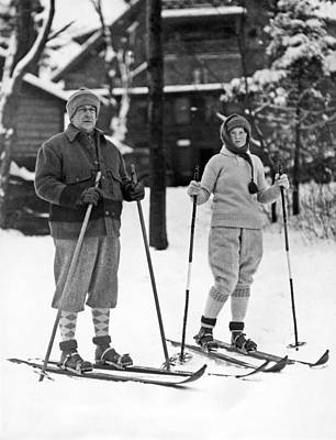 Skiing At Lake Placid In Ny Print by Underwood Archives