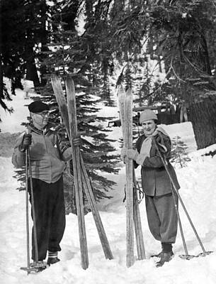 Ski Photograph - Skiing Badger Pass In Yosemite by Underwood Archives