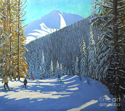 Christmas Greeting Painting - Skiing  Beauregard La Clusaz by Andrew Macara