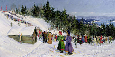 Winter Sports Painting - Skiing Competition In Fjelkenbakken by Gustav Wentzel