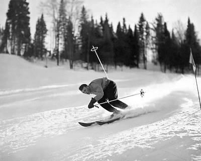 Ski Photograph - Skiing Hill 70 At St. Sauveur by Underwood Archives
