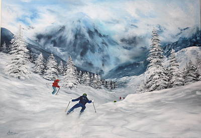 Italian Wine Painting - Skiing In Italy by Jean Walker