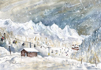 Painting - Skiing In The Dolomites In Italy 02 by Miki De Goodaboom