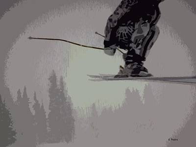 Sports Paintings - Skiing on Air by George Pedro