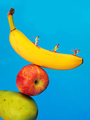 Mango Digital Art - Skiing On Banana Miniature Art by Paul Ge