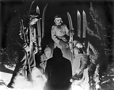 Ski Photograph - Skiing Party Camps In Siberia by Underwood Archives