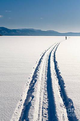 Skiing Person On Frozen Lake Art Print