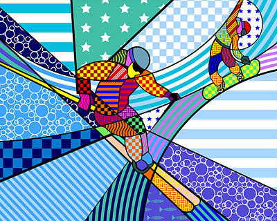 Popstar And Musician Paintings Royalty Free Images - Skiing Royalty-Free Image by Randall Henrie