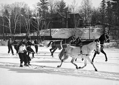 Skijoring At Lake Placid Art Print by Underwood Archives