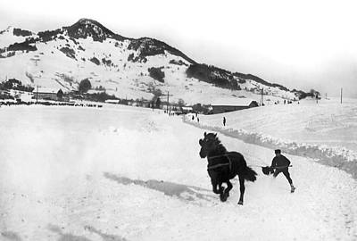 Photograph - Skijoring In The Alps by Underwood Archives