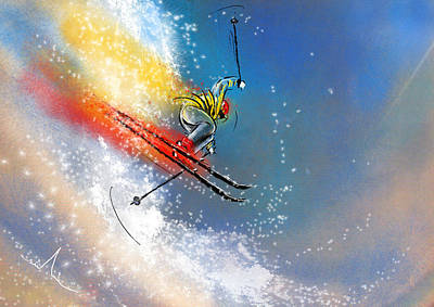 Extreme Sports Painting - Skijumping 01 by Miki De Goodaboom