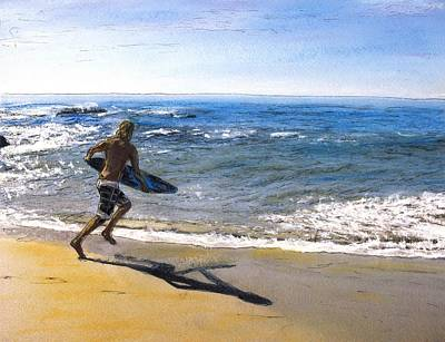 Laguna Beach Mixed Media - Skim Boarding At Pearl Beach Now Sold by Randy Sprout