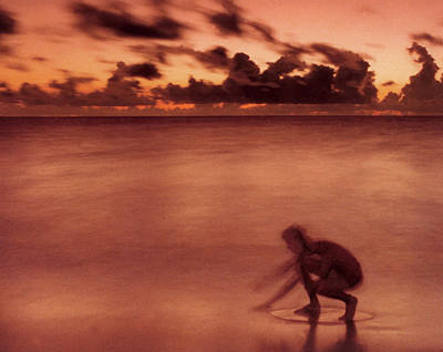 Art Print featuring the photograph Skimboarding At Dawn by Timothy Lowry