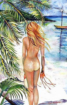 Skinny Dipping Beach Girl Original