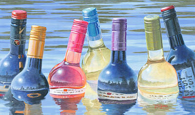 Red Wine Painting - Skinny Dipping by Will Enns