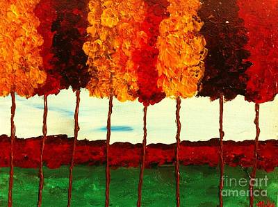 Painting - Skinny Trees Raw by Saundra Myles