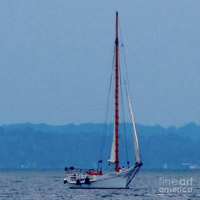 Photograph - Skipjack Mast Lowering On The Bay by Debbie Nester