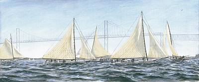 Art Print featuring the painting Skipjacks Racing Chesapeake Bay Maryland by G Linsenmayer