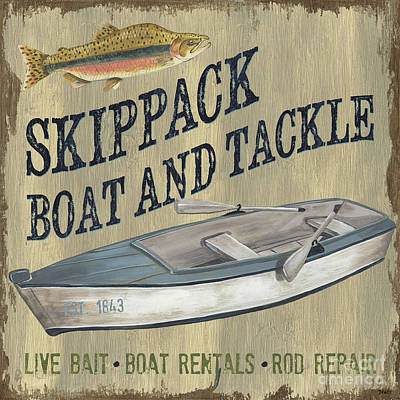 Log Cabin Painting - Skippack Boat And Tackle by Debbie DeWitt