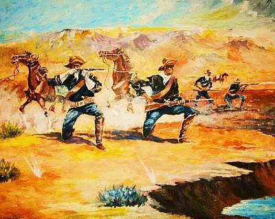 Painting - Skirmish At The Waterhole by Al Brown