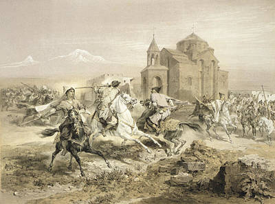 Horseman Drawing - Skirmish Of Persians And Kurds by Grigori Grigorevich Gagarin