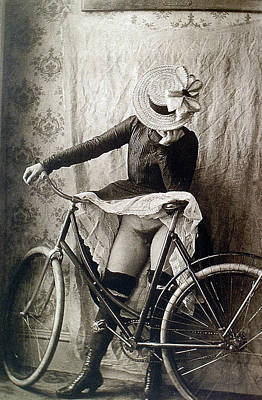 Skirt Up Bicycle Rider Art Print