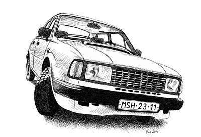 Drawing - Skoda 120l by Milan Surkala