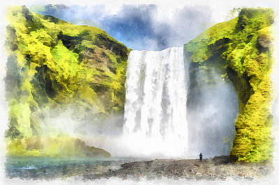 Skogafoss Waterfall Iceland Painting Aquarell Watercolor Art Print